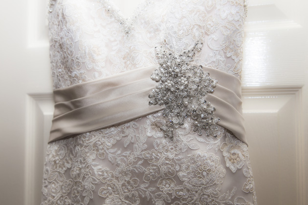 Lace , strapless, mermaid wedding dress  Becki and Rob's Real Wedding By Jenny Martin Photography   Confetti.co.uk