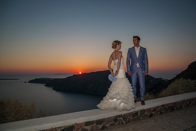 The bride and groom by the ocean at sunset | Wedding portfolio by Creative Shotz | Dasha and Steve's Real Wedding In Greece | Marryme in Greece | Confetti.co.uk