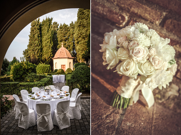 White wedding table decor | Wedding reception at Villa Bucciano , Tuscany |Ivory and pick rose bridal bouquet | Morgan and James Real Wedding By Infinity Weddings | Confetti.co.uk