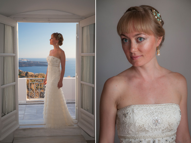 Wedding dress by designer Sue Wong | bride in a strapless, ivory, frilled wedding dress| Dasha and Steve's Real Wedding In Greece | Marryme in Greece | Confetti.co.uk