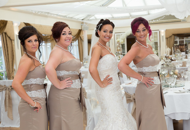 Bride and her bridesmaids at the wedding reception | Becki and Rob's Real Wedding By Jenny Martin Photography | Confetti.co.uk