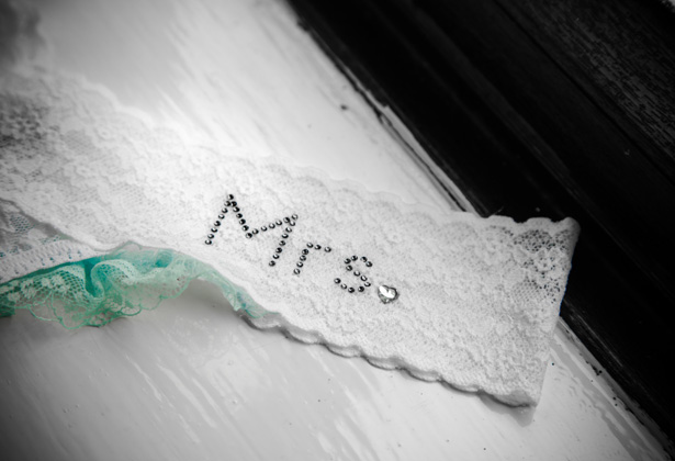 Lace 'Mrs' white garter  Becki and Rob's Real Wedding By Jenny Martin Photography   Confetti.co.uk