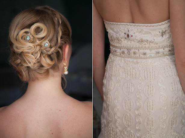 Braided bridal up do with vintage hair clips| Bride in a strapless, ivory, frilled wedding dress by Sue Wong| Dasha and Steve's Real Wedding In Greece | Marryme in Greece | Confetti.co.uk
