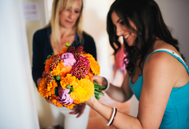 Vibrant colour bridal bouquet | Francesca & Arun's Fusion Real Wedding | Confetti.co.uk