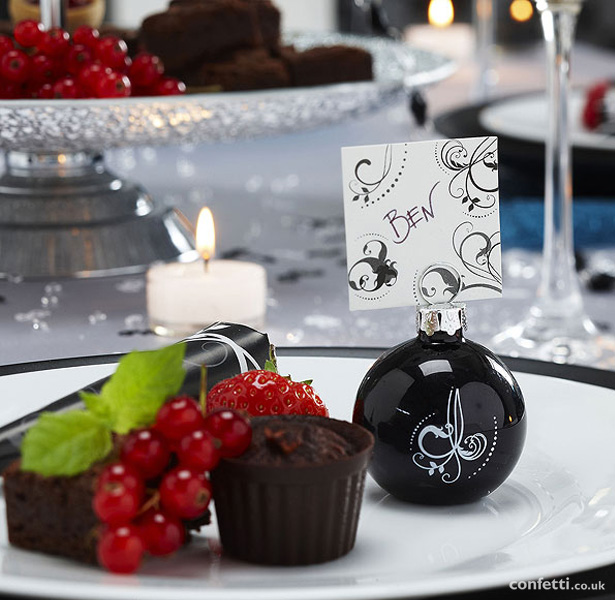 Black & White Glass Place Card Holders Pack| Christmas table decor| First Christmas as Mr and Mrs | Confetti.co.uk
