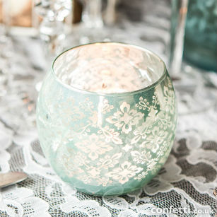 Christmas gift glass lace design votive holder