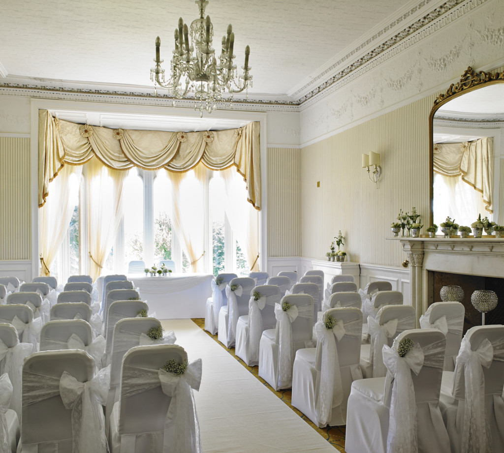 The Morley Room at Breadsall Priory, ready for a ceremony. | Confetti.co.uk