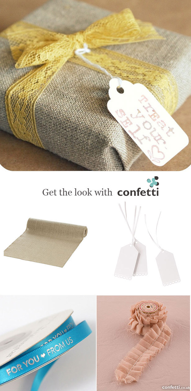 Creative gift wrapping |Burlap wrap and vintage lace wrapping | Confetti.co.uk