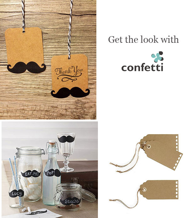 Creative gift wrapping | Moustache Gift Tags| Confetti.co.uk