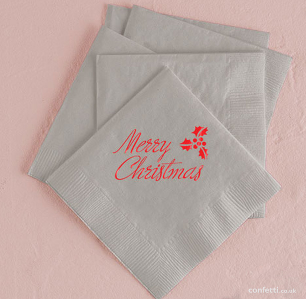 Merry Christmas napkins| Christmas table decor| First Christmas as Mr and Mrs | Confetti.co.uk