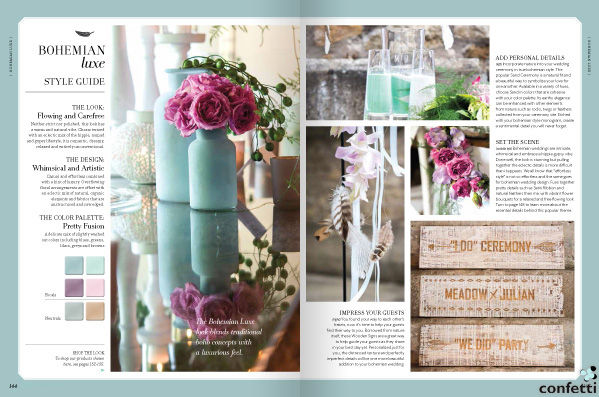 Details of the Bohemian Luxe Wedding Theme from Confetti.co.uk