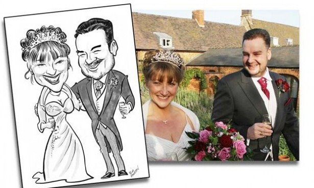 Caricture of bride and groom