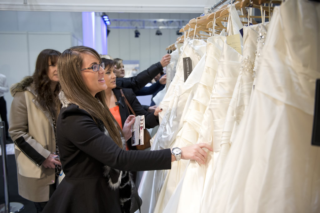 Looking at dresses during the 2015 UK Wedding Shows