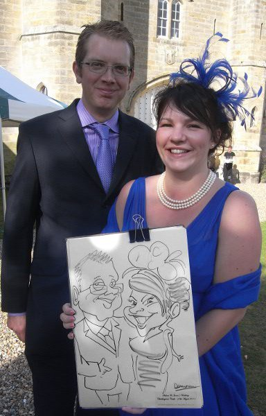 Caricature of wedding guests