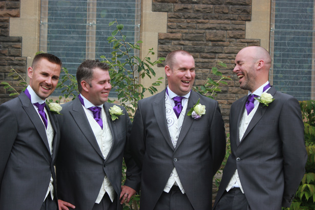 Groom with is groomsmen | Grey and purple wedding attire for men | Purple themed wedding| Rhiannon & Michael's Real Wedding | Confetti.co.uk
