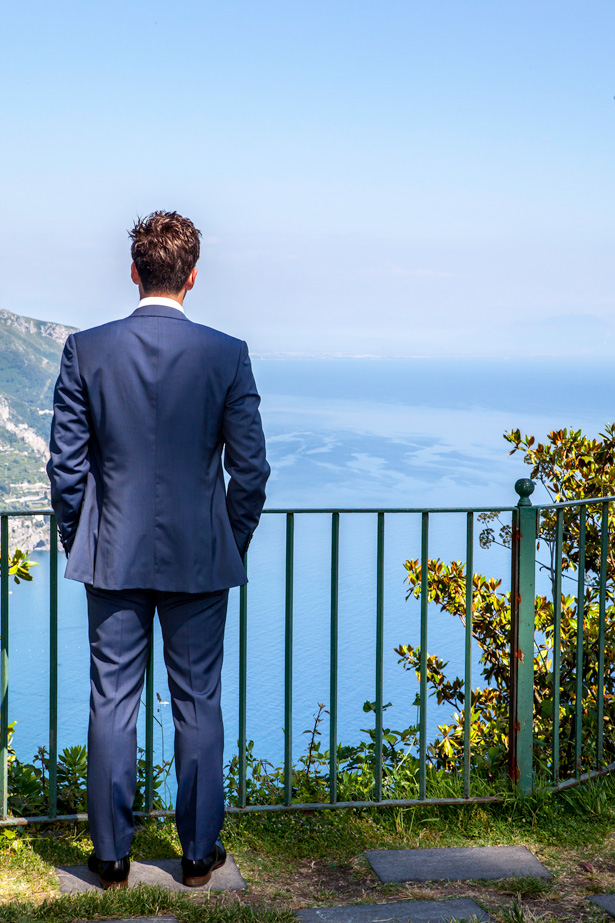 The groom waiting for the bride at the ceremony in Ravello, Italy | Leanne and Chris's Real Italian Wedding | Confetti.co.uk