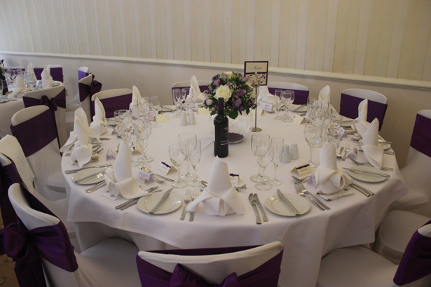 Wedding reception at De Courcey's Manor, Cardiff   White and purple wedding set up   Purple themed wedding  Rhiannon & Michael's Real Wedding   Confetti.co.uk