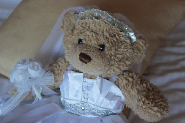 Teddy bear bride | Rhiannon & Michael's Real Wedding | Confetti.co.uk