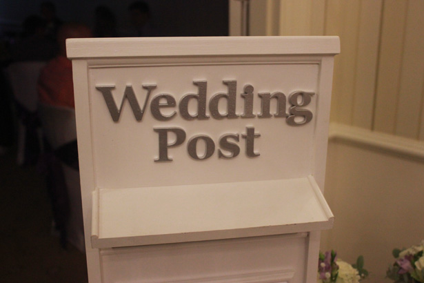 White wedding mail post box | Purple themed wedding| Rhiannon & Michael's Real Wedding | Confetti.co.uk