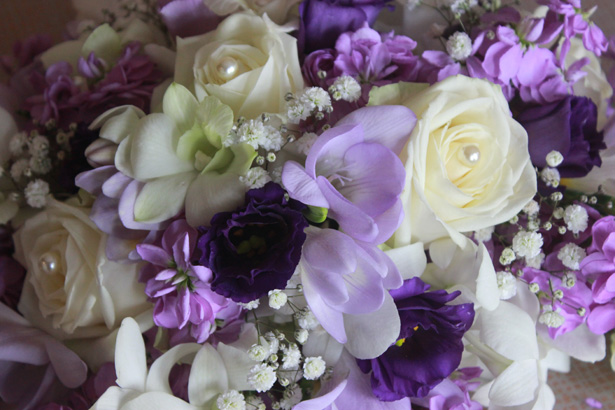 Dark purple, lavender and white bridal bouquet | Purple bouquet idea | Rhiannon & Michael's Real Wedding | Confetti.co.uk