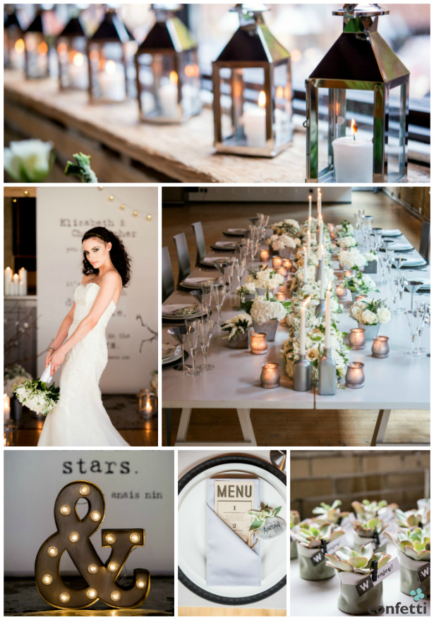 Inner city vibes from an industrial chic wedding theme from Confetti.co.uk