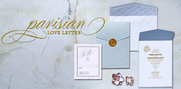 Parisienne Love Letter wedding invitations from Confetti.co.uk