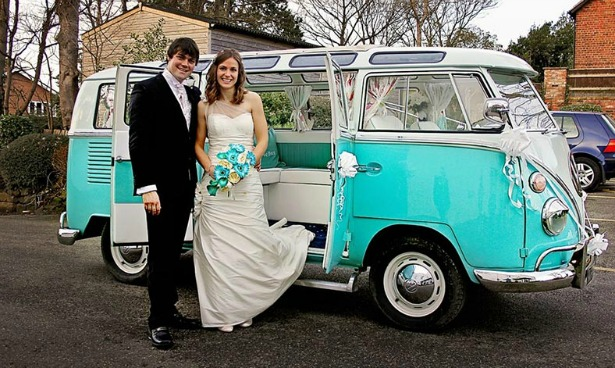 Silk Blooms blue flower bouquet with camper van