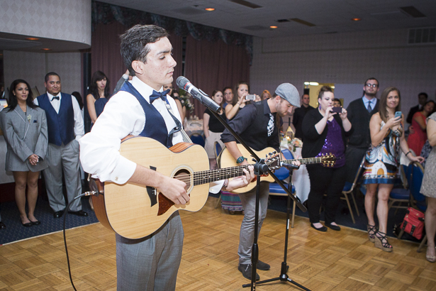 """Live rendition of """"I just don't think I'll ever get over you"""" by Collin Hay by the groomsmen   Crystal & Giampaolo California Real Wedding  Destination Wedding   Confetti.co.uk"""