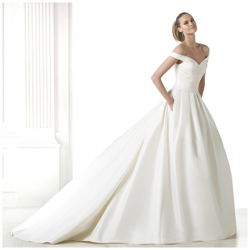 Full skirt off the shoulder wedding dress from Pronovias