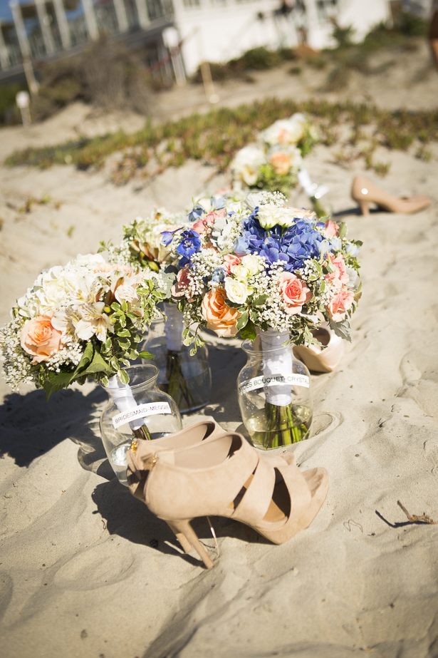 Bridal bouquet with blush pink roses and white and blue hydrangeas    Crystal & Giampaolo California Real Wedding  Destination Wedding America   Confetti.co.uk