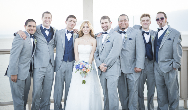 The bride with the groomsmen | Beach wedding | Crystal & Giampaolo California Real Wedding |Destination Wedding | Confetti.co.uk