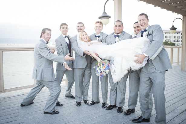 The groomsmen lifting the bride | Funny wedding photo ideas | Crystal & Giampaolo California Real Wedding |Destination Wedding | Confetti.co.uk