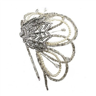 Swarovski Crystal And Pearl Art Deco Fan Headdress By Fabledreams