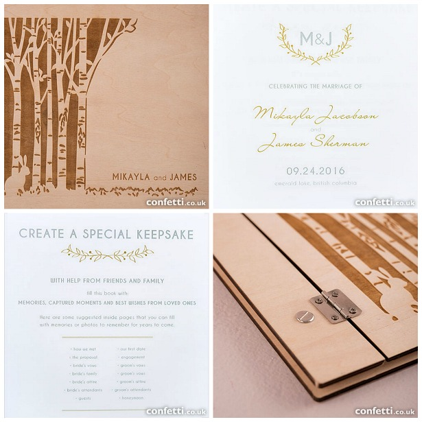 Woodland Pretty personalised wooden guest book | Confetti.co.uk