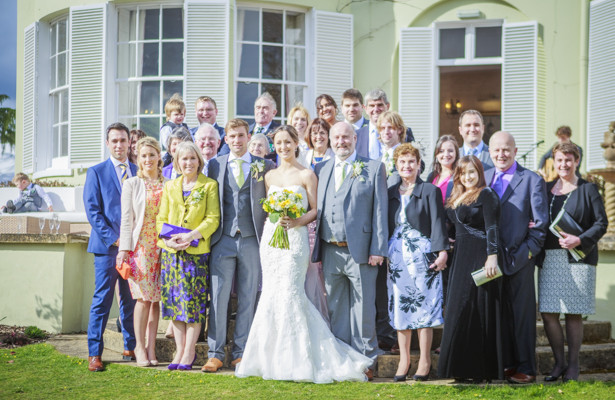 Bride and groom with their wedding guests | Wedding at the Deer Park country house | Nadine and Roberts Real Wedding | Confetti.co.uk