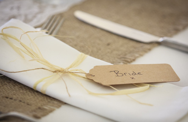 Burlap and brown craft place card for the bride| Spring wedding theme ideas | Wedding at the Deer Park country house | Nadine and Roberts Real Wedding | Confetti.co.uk