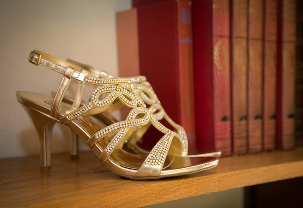 Gold diamante studded bridal sandals | Lizzie and Greg's Real Wedding | Confetti.co.uk