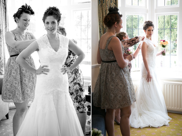 Bride getting ready for her big day | Lace bridal dress by Davids Bridal | Lizzie and Greg's Real Wedding | Confetti.co.uk