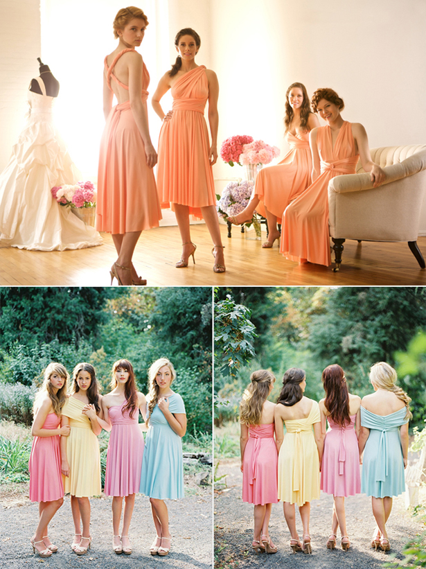 Convertible multi style bridesmaid dresses