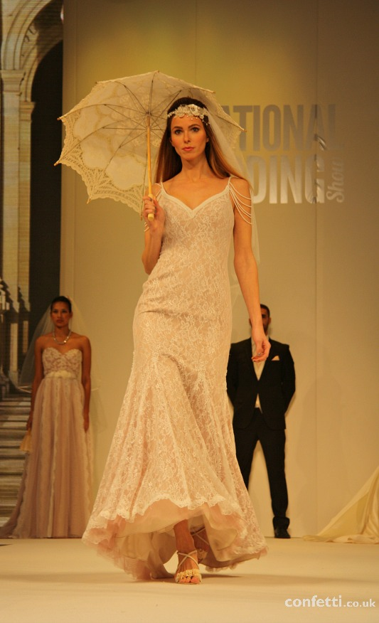 Confetti.co.uk's lace parasol National Wedding Show catwalk