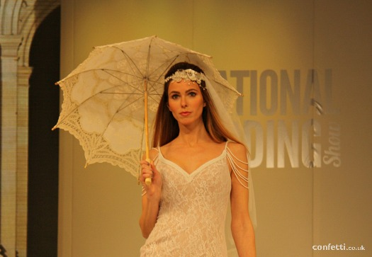 Lace parasol National Wedding Show catwalk close up