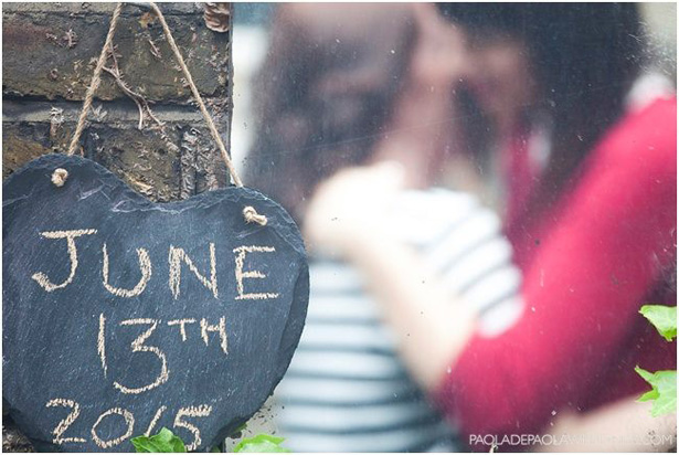 Save the date idea | Heart shaped slate with wedding date| Engagement shoot ideas | Confetti.co.uk