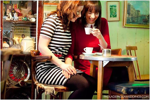The brides to be have a laugh in a coffee shop| Engagement shoot ideas | Confetti.co.uk