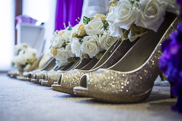 Gold sparkly pep toe bridesmaids shoes | Precious and Jerald's real wedding | Confetti.co.uk