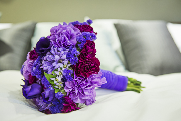 Different shades of purple wedding bouquet for the bride| Precious and Jerald's real wedding | Confetti.co.uk