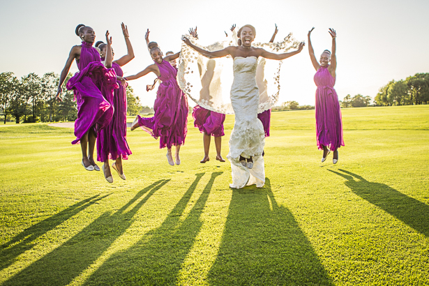The bride and her bridesmaids in purple halter neck dresses | Wedding pictures you have to capture | Precious and Jerald's real wedding | Confetti.co.uk