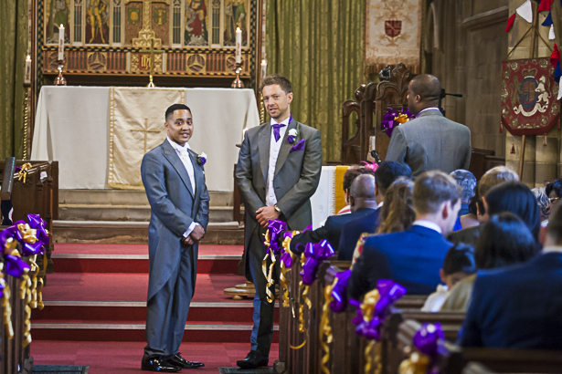 The groom waiting for the bride at the altar | Precious and Jerald's real wedding | Confetti.co.uk