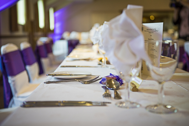Purple and gold wedding reception decor | Precious and Jerald's real wedding | Confetti.co.uk
