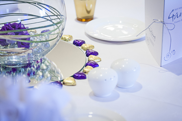 Purple and gold chocolate hearts wedding decor | Precious and Jerald's real wedding | Confetti.co.uk