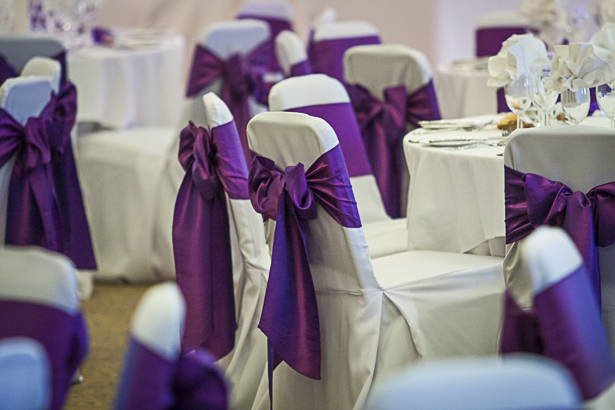 Purple bows for the chair covers | Precious and Jerald's real wedding | Confetti.co.uk